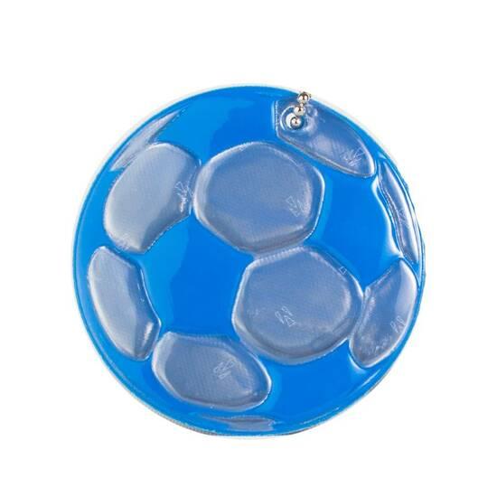 Tinka refleks til skolesekken ‑ Blå fotball med ekstra sterkt lys  fra Skolehuset.no