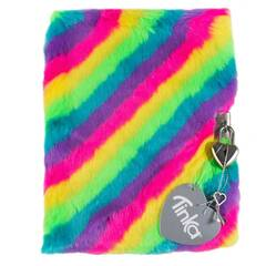 Tinka Dagbok med hengelås ‑ Fuskepels med regnbue