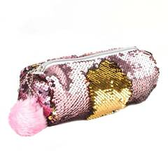 Tinka ‑ Rosa/Gull pennal av paljetter