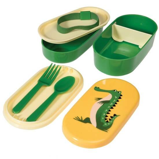 Rex London Bentoboks med bestikk ‑ Grønn med krokodillen Harry  fra Skolehuset.no