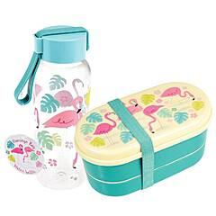 Rex London kombinasjonspakke matboks og drikkeflaske ‑ Fancy Flamingo