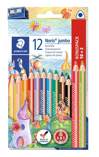 Staedtler 12 Jumbo fargeblyanter med blyantspisser fra Skolehuset.no