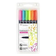 Tombow Fudenosuke Kalligrafi Penselpenner ‑ 6 neonfarger