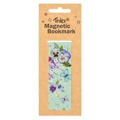 Tinka Magnetisk Bokmerke ‑ Turkis med blomster og sommerfugler