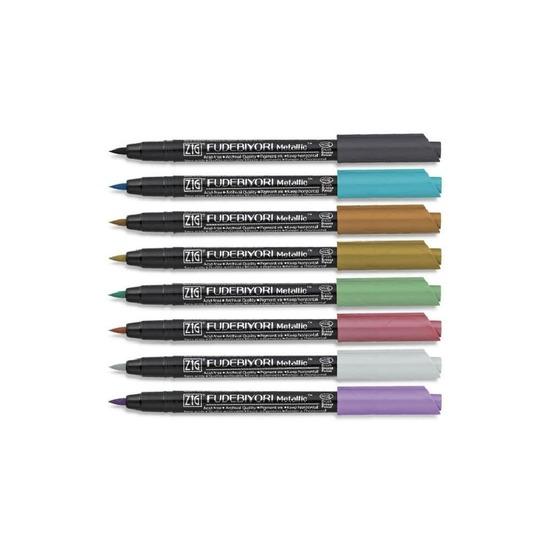 Zig Fudebiyori metallpenner ‑ Sett med 8 stk  fra Skolehuset.no