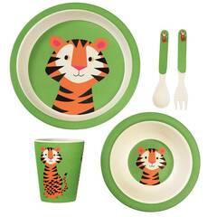 NYHET! Rex London Servise i bambus for barn ‑ Grønn med tiger