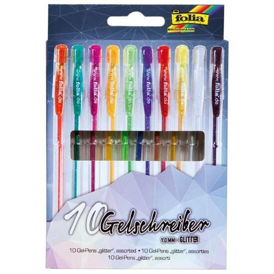 Folia Gelepenner ‑ Sett med 10 farger med glitter fra Skolehuset.no