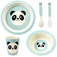 NYHET! Rex London Servise i bambus for barn ‑ Lyseblå med panda