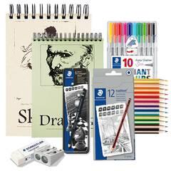 Tegning Startpakke Nivå 3: Pakke med blyanter, farger, tusjer, papir og tilbehør