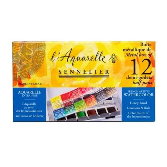 Sennelier l'Aquarelle ‑ 12 farger pocket boks fra Skolehuset.no