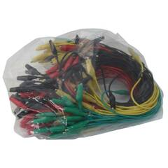 Krokodilleklemmer 400mm ‑ Sort, rød, grønn, gul - Pakke med 80 stk.
