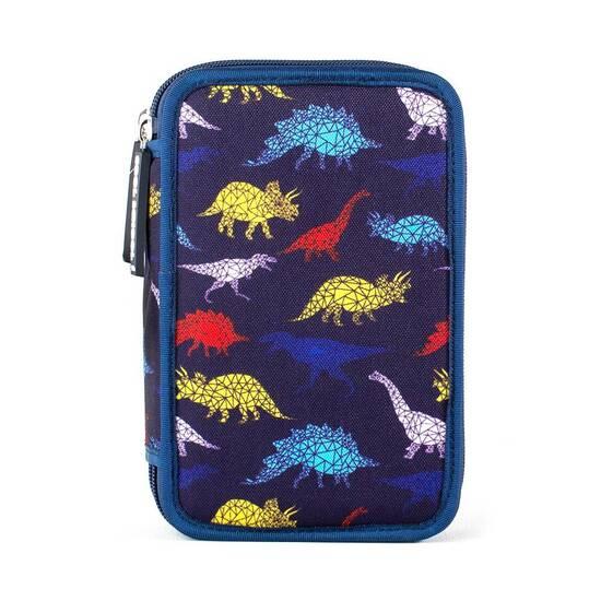 Tinka ‑ Dobbelt pennal med innhold ‑ Blått med funky dinosaurer   fra Skolehuset.no