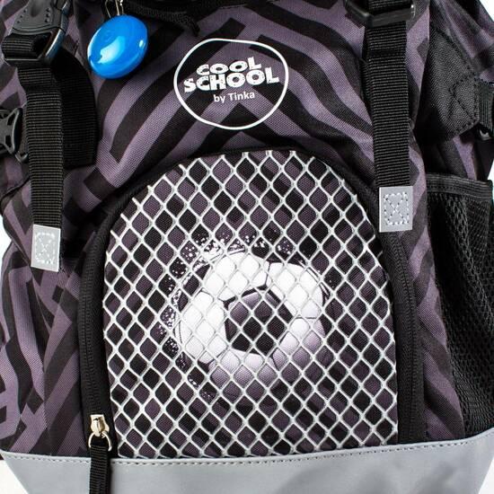 NYHET! Tinka skolesekk ‑ Sort Fotball   fra Skolehuset.no