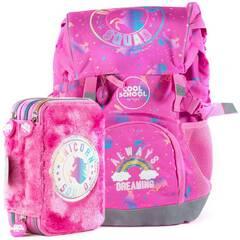 NYHET! Tinka skolesekk og trippelt pennal kombipakke ‑ Rosa med enhjørning