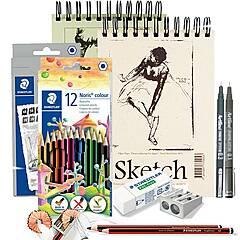 Tegning Startpakke Nivå 2: Pakke med tegneutstyr, papir og tilbehør
