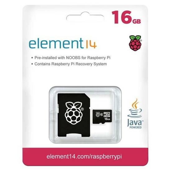 Raspberry Pi 16GB MicroSD kort med NOOBS operativsystem fra Skolehuset.no