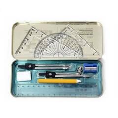 Oxford geometrisett: Etui med blyant, passer, linjal og mer.