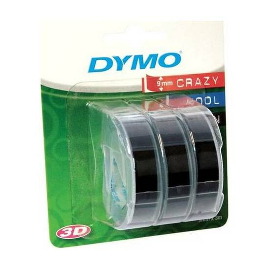 Dymo Teip 9mmx3m Sort ‑ Pakke med 3 fra Skolehuset.no