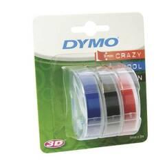 Dymo Teip 9mmx3m ‑ 3 ruller (Sort, rød, blå)