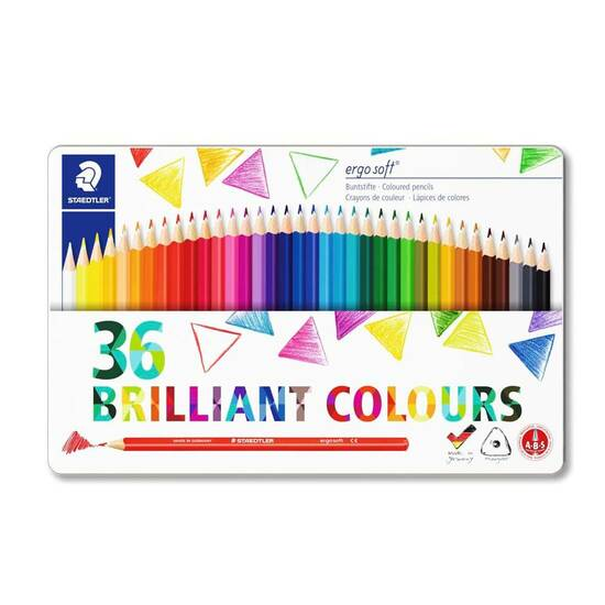 Staedtler Ergosoft 36 fargeblyanter i metallboks fra Skolehuset.no