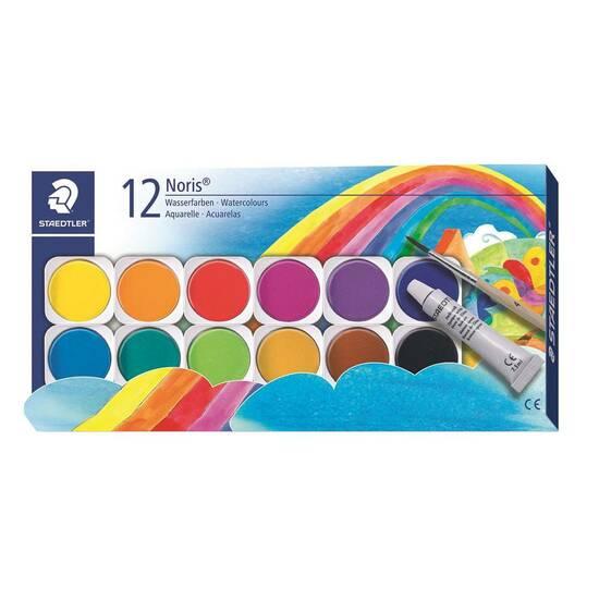 Staedtler Noris Malerskrin 12 vannfarger m/pensel fra Skolehuset.no