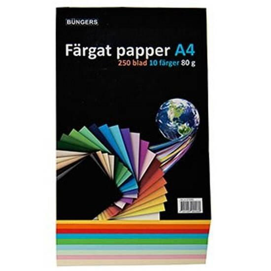 Büngers farget papir A4 80g 250 ark ‑ 10 farger fra Skolehuset.no