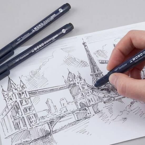 Tombow Fineliner Mono drawing pen 3‑sett fra Skolehuset.no