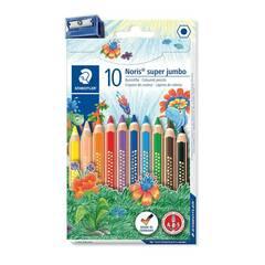 Staedtler 10 Super Jumbo fargeblyanter med blyantspisser