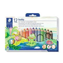 Staedtler Buddy 12 stk. fargeblyanter i voks med jumbo blyantspisser