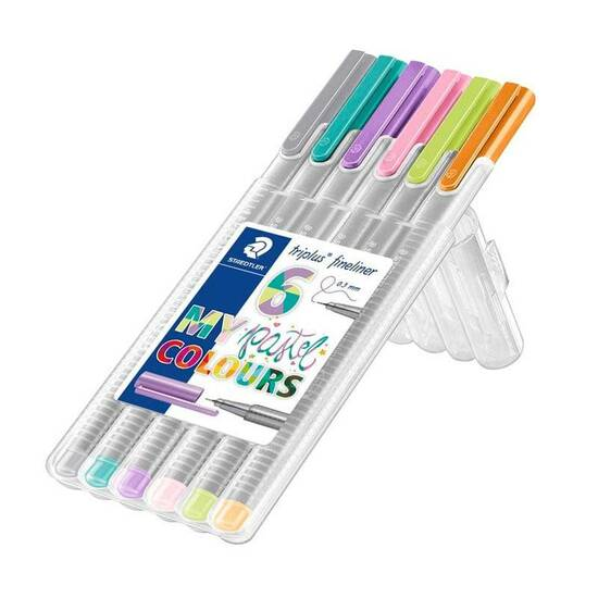 Staedtler Fineline Triplus tusjer 0,3 tupp 6 stk ‑ Pastellfarger fra Skolehuset.no