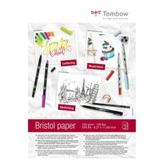 Tombow - Bristol papir 250g A4 for tegning og typografi. Klart hvitt syrefritt ‑ 25 ark