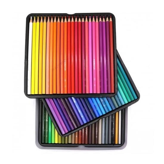 Staedtler 72 Fargeblyanter Sekskantet i metallskrin ‑ Inkluderer gull og sølvfarger fra Skolehuset.no