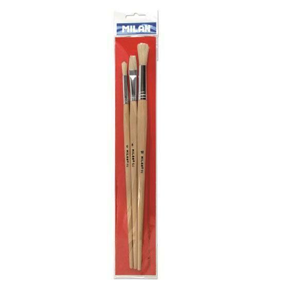 Milan Penselsett - Serie 512 ‑ 3 ulike størrelser for olje/akryl fra Skolehuset.no