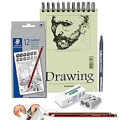 Tegning Startpakke Nivå 1: Pakke med tegneblyanter, papir og tilbehør