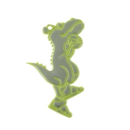 Tinka refleks til skolesekken ‑ Dinosaur med ekstra sterkt lys   fra Skolehuset.no