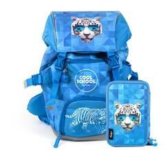 Tinka skolesekk og trippelt pennal kombipakke ‑ Blå tiger