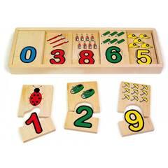 Small Foot Lær å telle med figurer og tall - Brikker av tre