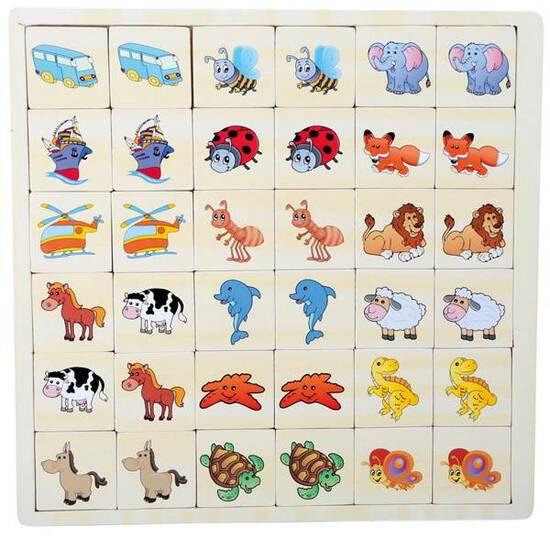 Small Foot Minnespill av trebrikker ‑ Dyr og kjøretøy fra Skolehuset.no