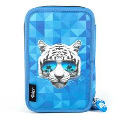 Tinka ‑ Trippelt pennal med innhold ‑ Blått med tiger