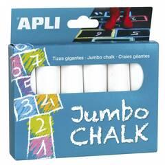 Apli Jumbo gatekritt ‑ Pakke med 6 hvite