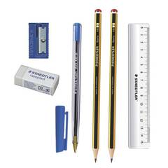 Staedtler Studentsett ‑ Pakke med med blyant, kulepenn, visk, blyantspisser og linjal