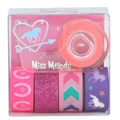Miss Melody decotape neon, rosa og lilla ‑ 5 i pakke med forskjellig hestemotiv