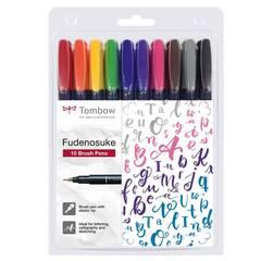 Tombow Fudenosuke kalligrafi penselpenn ‑ 10 farger