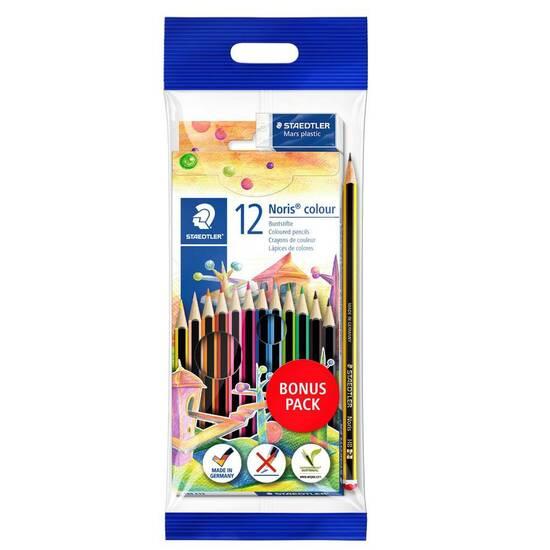 Staedtler Noris Colour Kombipakke ‑ 12 Sekskantede fargeblyanter, HB blyant og visk fra Skolehuset.no