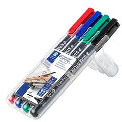 Staedtler Merkepenn Lumocolor permanent 1.0mm tupp ‑ 4 farger