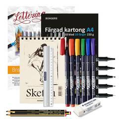 Startpakke Typografi/Kalligrafi ‑ Nivå 2: Pakke med kalilgrafipenner, tusjer, papir og tilbehør