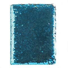Tinka skissebok med hard perm ‑ Turkis og sølv paljetter
