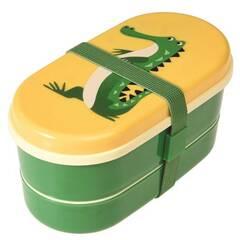 Rex London Bentoboks med bestikk ‑ Grønn med krokodillen Harry