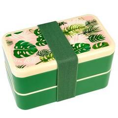 Rex London Bentoboks/matboks i to etasjer med bestikk ‑ Grønn og rosa med tropiske planter