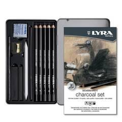 Lyra Charcoal sett ‑ Høykvalitets sett med kullstift i metallboks